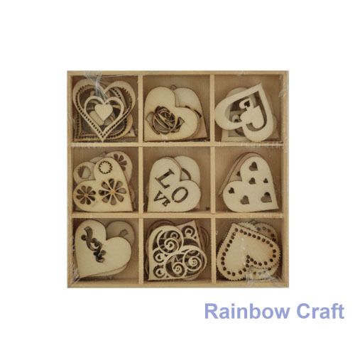 Kaisercraft Wooden Flourish packs / storage box 74 selections - Love1