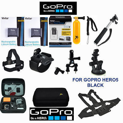 BATTERY FOR GOPRO Man of the hour5 2PCS + FAST CHARGER + CHEST MOUNT FULL HD ACCESSORY KIT