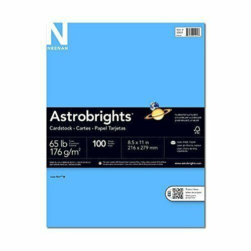 Wausau Astrobrights  Premium Cardstock, 8.5 X 11 Inches, Lunar Blue, 100 Count (
