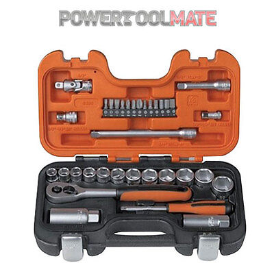 """Bahco S330 34 piece 1/4"""" and 3/8"""" drive socket set in carry case"""