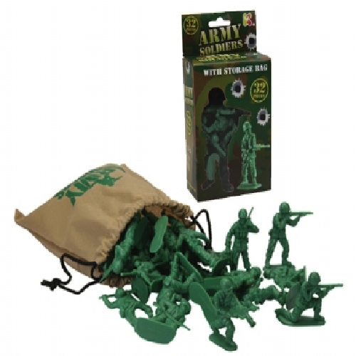 ARMY SOLDIERS WITH STORAGE BAG - TOY CLASSIC BATTLE SOLDIERS KIDS PLAYTIME