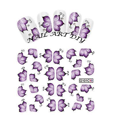 Nail Art Water Transfers Stickers Decals-Adesivi Fiori Viola Unghie Decalcomania usato  Firenze