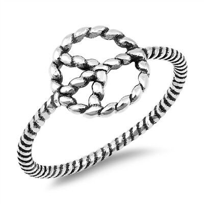 - Oxidized Peace Sign Rope Beautiful Ring 925 Sterling Silver Band Sizes 4-10 NEW