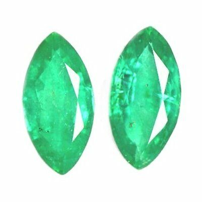 NATURAL GREEN EMERALD GEMSTONES (2 pcs) MARQUISE CUT (4.1 x 2 to 3.9 x 2 mm)