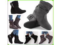 New ladies ankle boots shoes wedge mid heel