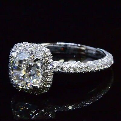 3.10 Ct. Cushion Cut Halo Diamond Engagement Ring Round Micro Pave E, VVS2 GIA 1