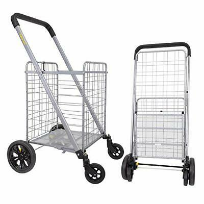 Cruiser Cart Deluxe Shopping Grocery Rolling Folding Laundry Basket On Wheels F
