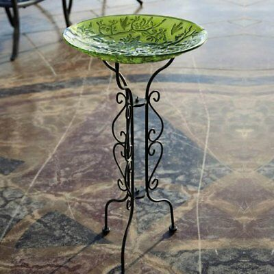 "Evergreen Tall Black Metal Scroll Bird Bath Stand - 12.5""L x 12.5""W x 34""H"
