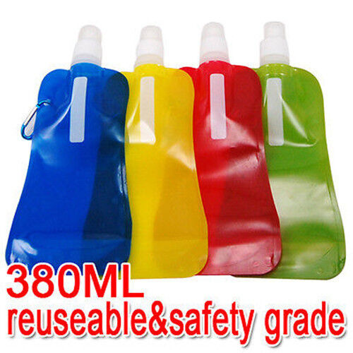 FOLDABLE Reusable DRINKING WATER BOTTLE with Carabiner ...