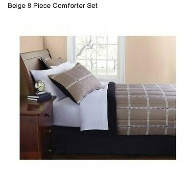 New Beige Full Size 8 Piece Comforter Set With Sheets Bedding Bedspread Soft