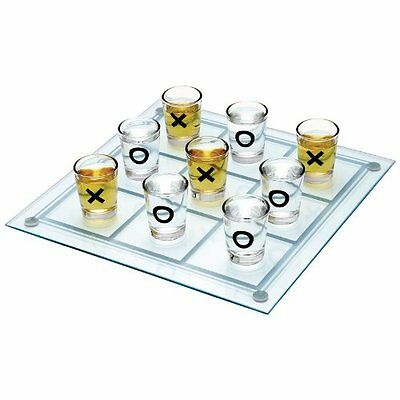 Shot Glass Tic Tac Toe Game * 1 Glass Gameboard * 9 Drinking Glasses * Clear,NEW