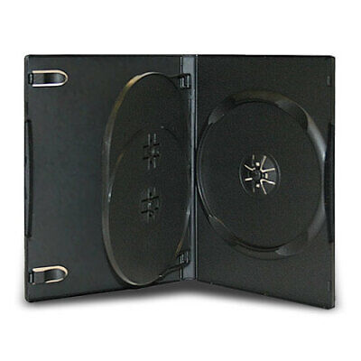5 Standard 14mm Triple Multi 3 Disc Cd Dvd Black Storage Case Box