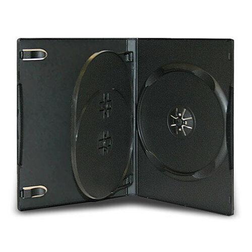 10 Standard 14mm Triple Multi 3 Disc CD DVD Black Storage Case Box