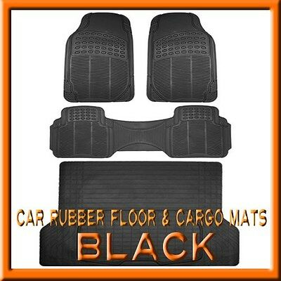 Ford Bronco Cargo Liner - Fits 3PC FORD Bronco  Black Rubber Floor Mats & 1PC Cargo Trunk Liner mat