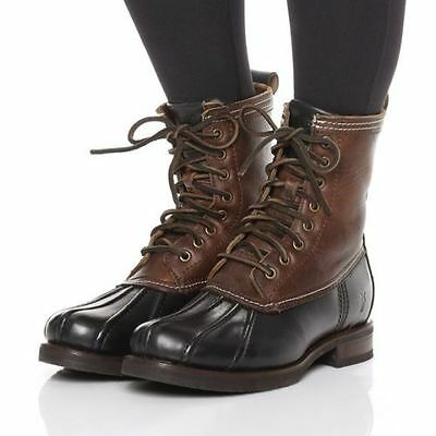 Frye Veronica Duck Leather Shearling Combat Boots   Black   Brown Rtl  398