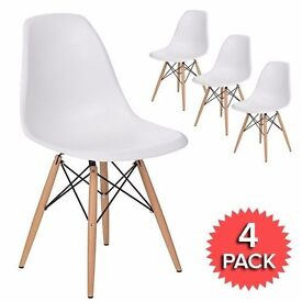 4 X Brand White New Eames DSW Premium Dining Chairs In Box - Free Delivery