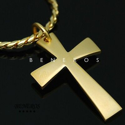 Simple Cross Pendant Chain Necklace Gold Plated Mens Biker Hip Hop Jewelry