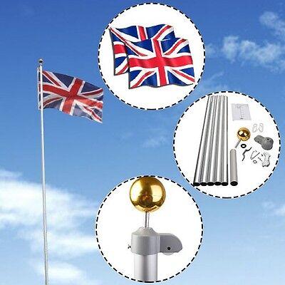 20 FT Telescopic Aluminium Flag Pole w/Two Flags & Gold Ball Flagpole Kit