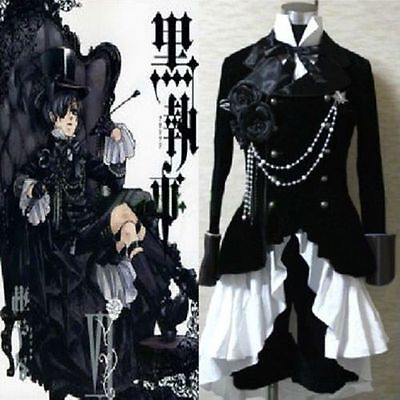 Butler Outfit Costume (Black Butler Ciel Phantomhive Black Suit Cosplay Outfit)
