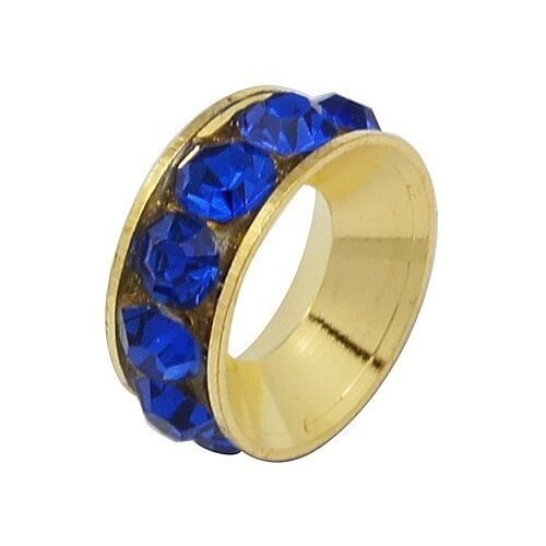 Wholesale Lot 50 Channel Brass European Spacer Bead & Cobalt Blue Rhinestones