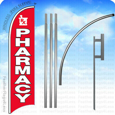 Pharmacy - Windless Swooper Flag 15 Kit Feather Banner Sign - Rb