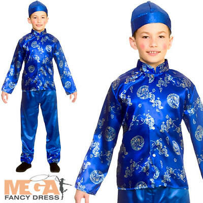 Chinese Boys Fancy Dress Oriental Kimono Asian Pyjama Kung Fu Kid Child - Asian Boy Kostüm