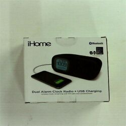 iHome iBT210B Bluetooth Dual Alarm FM Clock Radio with Speakerphone and USB Char
