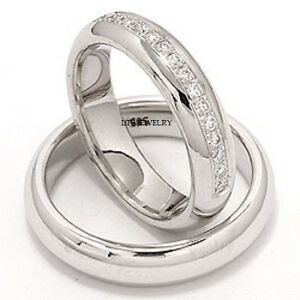 10K-WHITE-GOLD-MATCHING-HIS-HERS-WEDDING-BANDS-DIAMOND-RING-SET