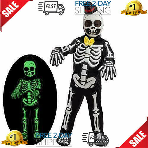 Spooky Skelebones Deluxe Skeleton Kids Toddler Costume Set with Glow in The Dark