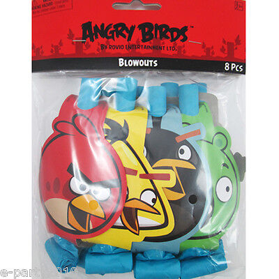 (8) ~ Birthday Party Supplies Favors Noisemakers Paper Horn (Angry Birds Party Favours)