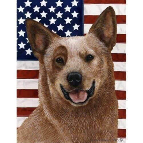 Patriotic (D2) House Flag - Red Australian Cattle Dog 32281