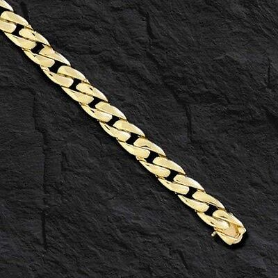 14k Solid Gold Men's Curb Link Bracelet  7 mm 18 grams 8""