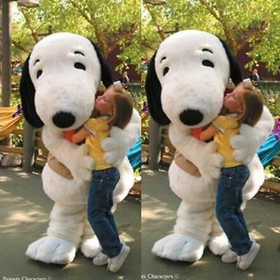 Snoopy white dog character fancy dress cos party game Mascot Costume Adult Suit#](Snoopy Mascot Costume)