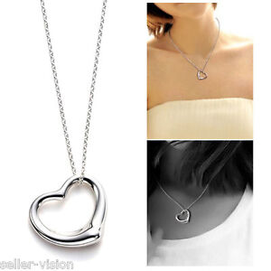 New Sterling Silver Open Love Heart Pendant & Chain Necklace in Gift Bag Solid
