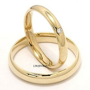 14K-YELLOW-GOLD-MATCHING-HIS-HERS-WEDDING-BANDS-DIAMONDS-RINGS-MENS ...