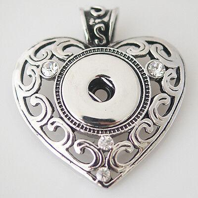 Fits Ginger Snaps SNAP PENDANT Heart Necklace Magnolia Vine Button 18mm