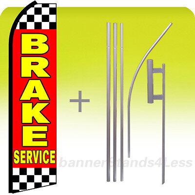 Brake Service Swooper Flag Kit Feather Flutter Banner Sign 15 - Checkered Rz