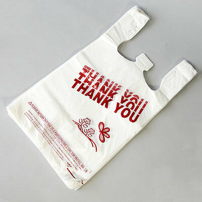 T-shirt Bag Thank You Plastic Grocery Retail Carry Out Bags 8x5x16