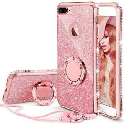 iPhone 8 Plus, iPhone 7 Plus Glitter Cute Phone Case Girls with Kickstand Pink