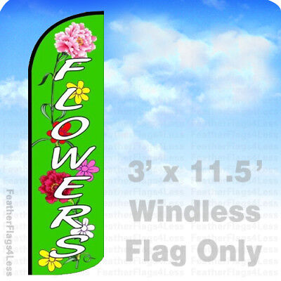 Flowers - Windless Swooper Flag Feather Banner Sign 3x11.5 Gq