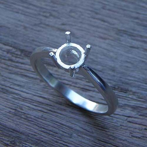 5.0 Round solitaire ring  setting sterling silver925 #198