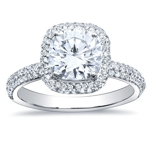3.04Ct Cushion Cut Micro Pave Halo Round Diamond 18K Engagement Ring F, VVS2 GIA 2