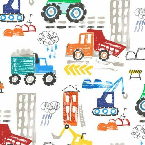 Diggers And Dumpers By Michael Miller Fabrics - White Construction Site  #9407-W