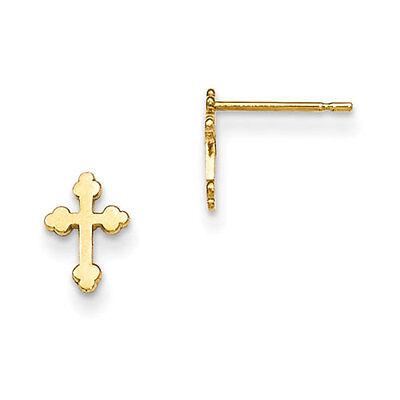 Madi K 14k Yellow Gold Diamond Cut Children's Cross Post Earrings
