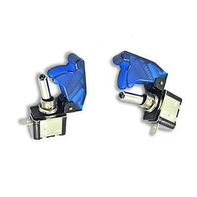 2x Blue Led Cover Toggle Control Switch 12v On Off Spst Switchs Car Motor Hs