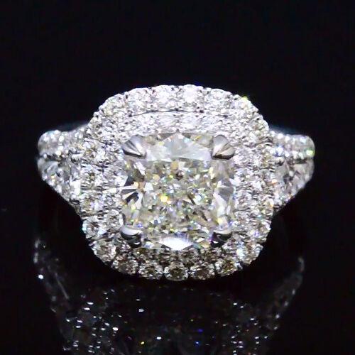 Plat 4.00 Ct Cushion Cut Diamond Twin Halo Split Shank Engagement Ring G, SI GIA