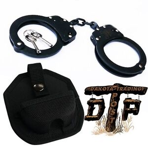BLACK PLATED DOUBLE LOCK POLICE HANDCUFFS W/ KEYS AND CASE