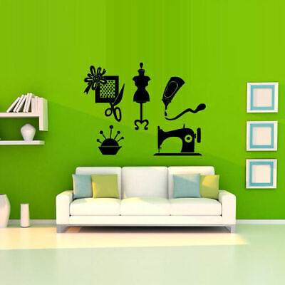 Wall Decal Handicraft Craft Hand Atelier Seamstress Mannequin Scissors - Atelier Wall