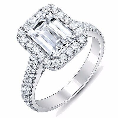 2.30 Ct Emerald Cut w/ Round Cut Halo Diamond Engagement 18K Gold Ring G,VS2 GIA