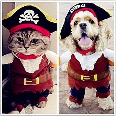 Halloween Cat Dog Puppy Costume Pirate of the Caribbean Cosplay Outfit Clothes G](Dog Pirate Outfit)